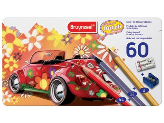 BRUYNZEEL Kleurblik Super Sixties Kever 60-delig met gum en slijper - Kleurpotloden - BRUYNZEEL