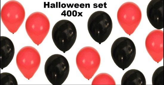 400x Ballonnen rood/zwart - Casino Carnaval ballon festival feest verjaardag halloween
