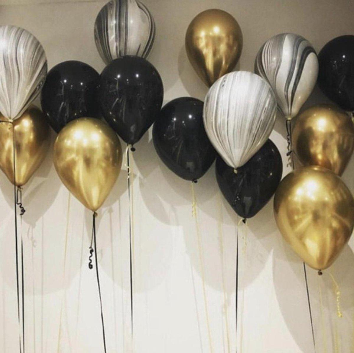 Luxe Ballonnenset 15 Stuks Goud Zwart - Helium Ballonnen. Ballonnen Feestje Verjaardag Party