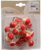 Kunst Kerststukje insteek paddenstoelen 2,5 cm 20 stuks