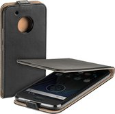 MP Case zwart eco lederen flip case voor Motorola Moto G5 PLUS flip cover