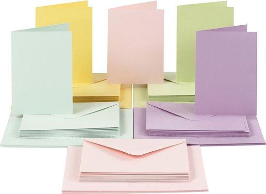 Afbeelding van Kaarten en enveloppen, afmeting kaart 10,5x15 cm, afmeting envelop 11,5x16,5 cm, 50 sets, pastelkleuren speelgoed