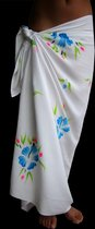 Sarong Pareo StrandLaken Hamamdoek Handgeschilderde Bloemen Blauw 100% Beste Kwaliteit Rayon Viscose Wikkeljurk Wikkelrok 115 * 180 cm