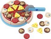 Imaginarium Deliset PIZZA - Houten Speelgoed Pizza - Met Klittenband en Pizzasnijder