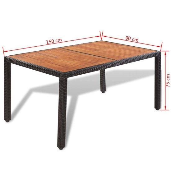 vidaXL Tuinset poly rattan met houten tafelblad zwart 13-delig