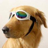 N.T.S. Zonnebril voor honden - WIT - 100 % UV Zonnebril - Zon, Herfst bos, strand en Winter sneeuw bescherming -Verstelbaar - Comfortabel voor de hond door foam aan de binnenkant - Honden zonnebril - Bescherming insecten en geïrriteerde ogen