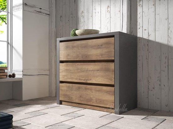 Meubella - Dressoir Monaco - Eiken - Grijs - 90 cm