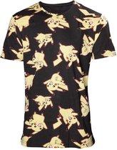 Pokémon - Heren allover print T-shirt - XL - Zwart