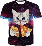 Pizza en taco kat tshirt Maat: XL Crew neck