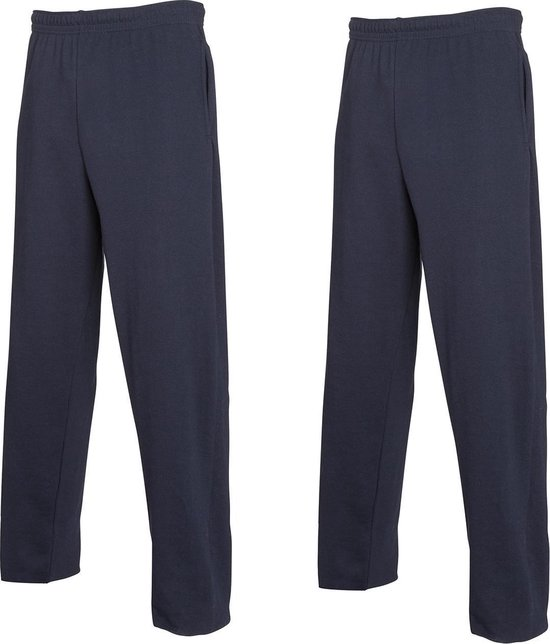 2 Pack Fruit of the Loom Joggingbroek (met rechte Pijp) Blauw Maat M