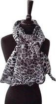 Zwart grijze luipaardprint viscose dames sjaal - 85 x 180 cm