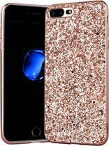 Apple iPhone 7 Plus - 8 Plus Backcover - Roze - Glitters - Hard PC Hoesje