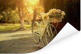 Bloemen in de fietsmand van de fiets Poster 90x60 cm - Foto print op Poster (wanddecoratie woonkamer / slaapkamer)