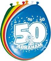 8x stuks Ballonnen versiering 50 jaar Abraham thema feestartikelen 50 geworden