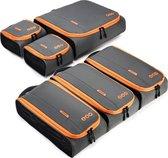 """Packing Cubes Set - 6 Delige Koffer Organizer voor 24"""" Koffer - Grijs Oranje"""