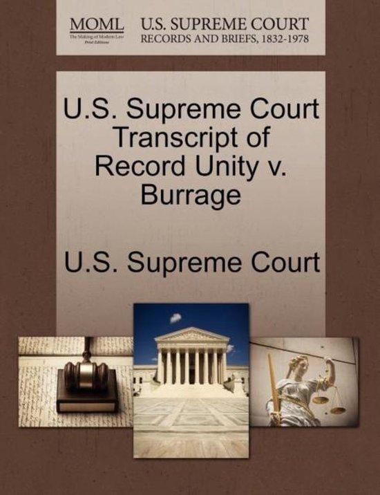 U.S. Supreme Court Transcript of Record Unity V. Burrage