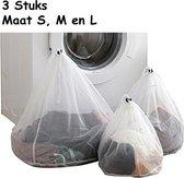 Emmy's Store waszakjes set van 3 – ronde waszak met trekkoord – wasnet voor lingerie en fijn wasgoed - wit - 3 maten wasnetjes (groot, medium en klein)