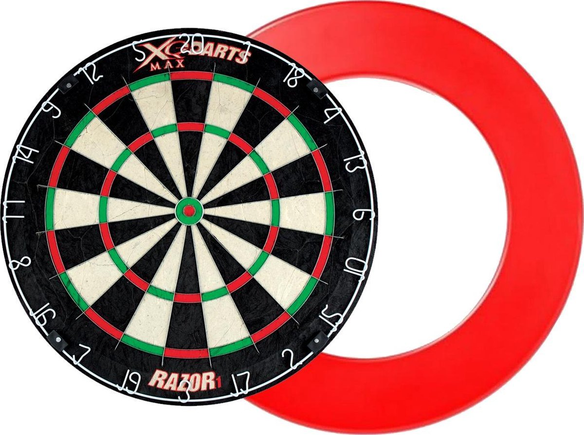 XQ Max - Razor 1 Bristle - dartbord - inclusief - dartbord surround ring - rood