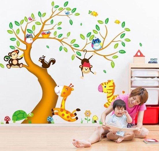 Muursticker boom en dieren in de jungle kinderkamer