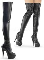 EU 36 = US 6 | DELIGHT-3000 | 6 Heel, 1 3/4 PF Thigh High Boot, Side Zip