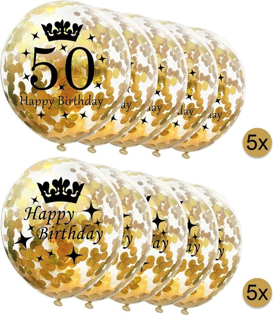 10 stuks confetti ballonnen | 5 stuks 50 jaar + 5 stuks Happy Birthday | Gouden Confetti | Verjaardag | Versiering