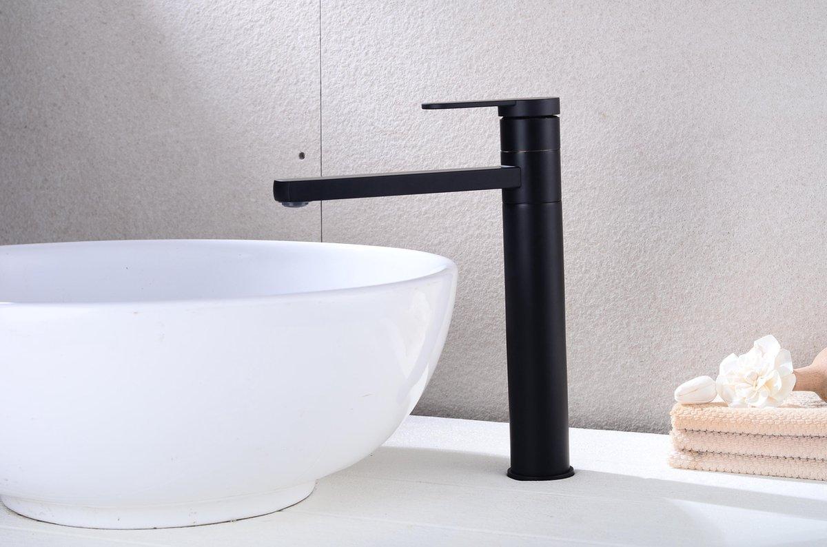 Excellent Wellness Badkamermeubel Kraan Wastafelkraan Type: M007 , 30 cm Hoog, Kleur Mat Zwart