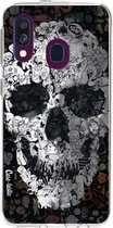 Samsung Galaxy A40 (2019) hoesje Doodle Skull BW Casetastic Smartphone Hoesje softcover case