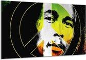 Canvas schilderij Man | Groen, Zwart, Oranje | 120x70cm 1Luik