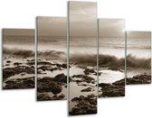 Glas schilderij Zee, Strand | Sepia | 100x70cm 5Luik | Foto print op Glas |  F006420