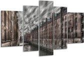 Glasschilderij Gebouw | Grijs, Blauw, Wit | 170x100cm 5Luik | Foto print op Glas |  F001112