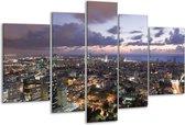 Glasschilderij Gebouw | Grijs, Blauw | 170x100cm 5Luik | Foto print op Glas |  F002712