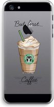 iPhone 5 / 5S / SE Transparant Hoesje (Soft) - But first coffee