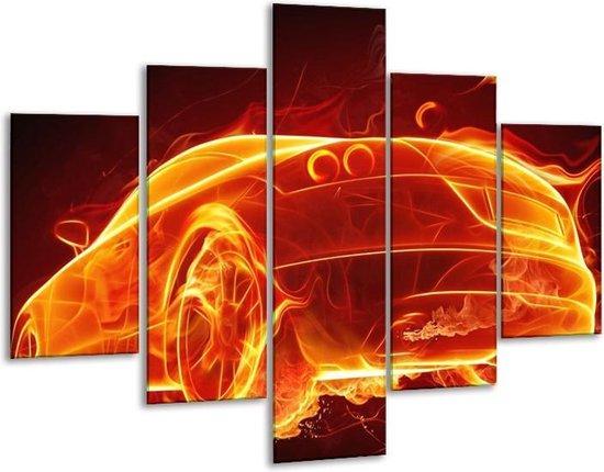 Glasschilderij Auto   Goud, Rood, Geel   100x70cm 5Luik   Foto print op Glas    F001689