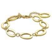 Twice As Nice Armband in goudkleurig edelstaal, 8 open ovalen  16 cm+3 cm