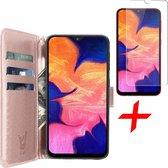 Samsung Galaxy A10 Hoesje + Screenprotector Case Friendly - Book Case Portemonnee - iCall - Roségoud