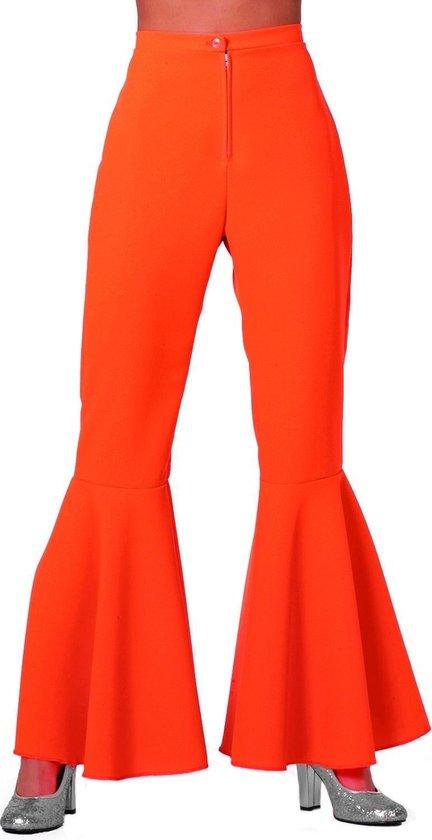 Hippie dames broek bi-Stretch neon oranje Maat 36