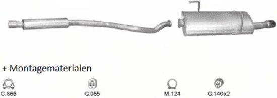 Complete Uitlaat Peugeot 206 cc 2.0 10/2000-2007 (Set1513)