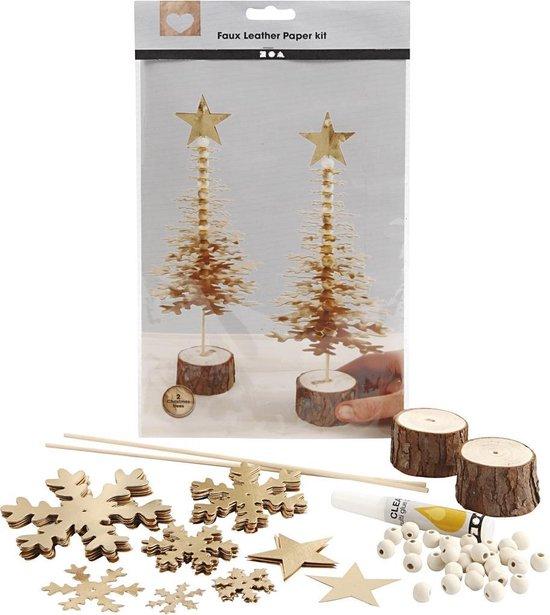 Faux Leather Kerstboom. goud. dikte 0.55 mm. 1 set