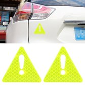 2 STKS Auto-Styling Driehoek Carbon Waarschuwing Sticker Decoratieve Sticker (Groen)