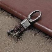 Wevende band metalen auto sleutelhanger Gevlochten riem sleutelhanger (bruin)