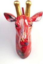Pomme Pidou Aniwalls dierenkop giraffe Maddy - Rood met bloemen