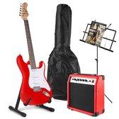 Elektrische gitaar - Johnny Brook JB404 elektrische gitaar starterset met rode gitaar, 20W gitaarversterker, gitaarstandaard, muziekstandaard en accessoires