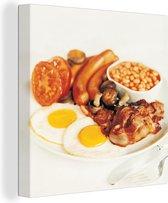English Breakfast met witte achtergrond 50x50 cm - Foto print op Canvas schilderij (Wanddecoratie woonkamer / slaapkamer)