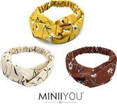 MINIIYOU® Set 3 stuks | Gebloemde Viscose dames haarbanden geel - bruin - crème | Vrouwen - tieners - meiden - volwassenen haarbanden