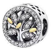 Zilveren bedel Geloof en Geluk |  Bedel levensboom groot | Zilver en goud | 925 Sterling Zilver | Bedels Charms Beads | Past altijd op je Pandora armband | direct snel leverbaar | Miss Charming