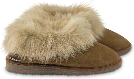 Texelana sloffen en pantoffels voor dames & heren - pantoffel van schapenvacht met bontrand - model Nelda maat 44
