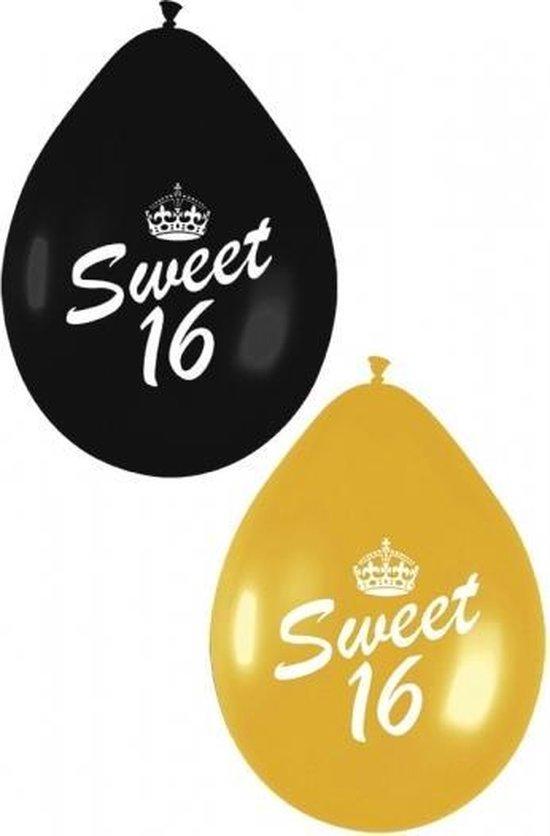 24x stuks Sweet 16 thema ballonnen zwart en goud van 27 cm - Feestartikelen verjaardag versiering