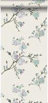 ESTAhome behang kersenbloesems beige en lila paars - 148715