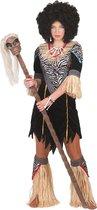 Jungle & Afrika Kostuum | Inboorling Dame Smurfafa | Vrouw | Maat 44-46 | Carnaval kostuum | Verkleedkleding - Zwart