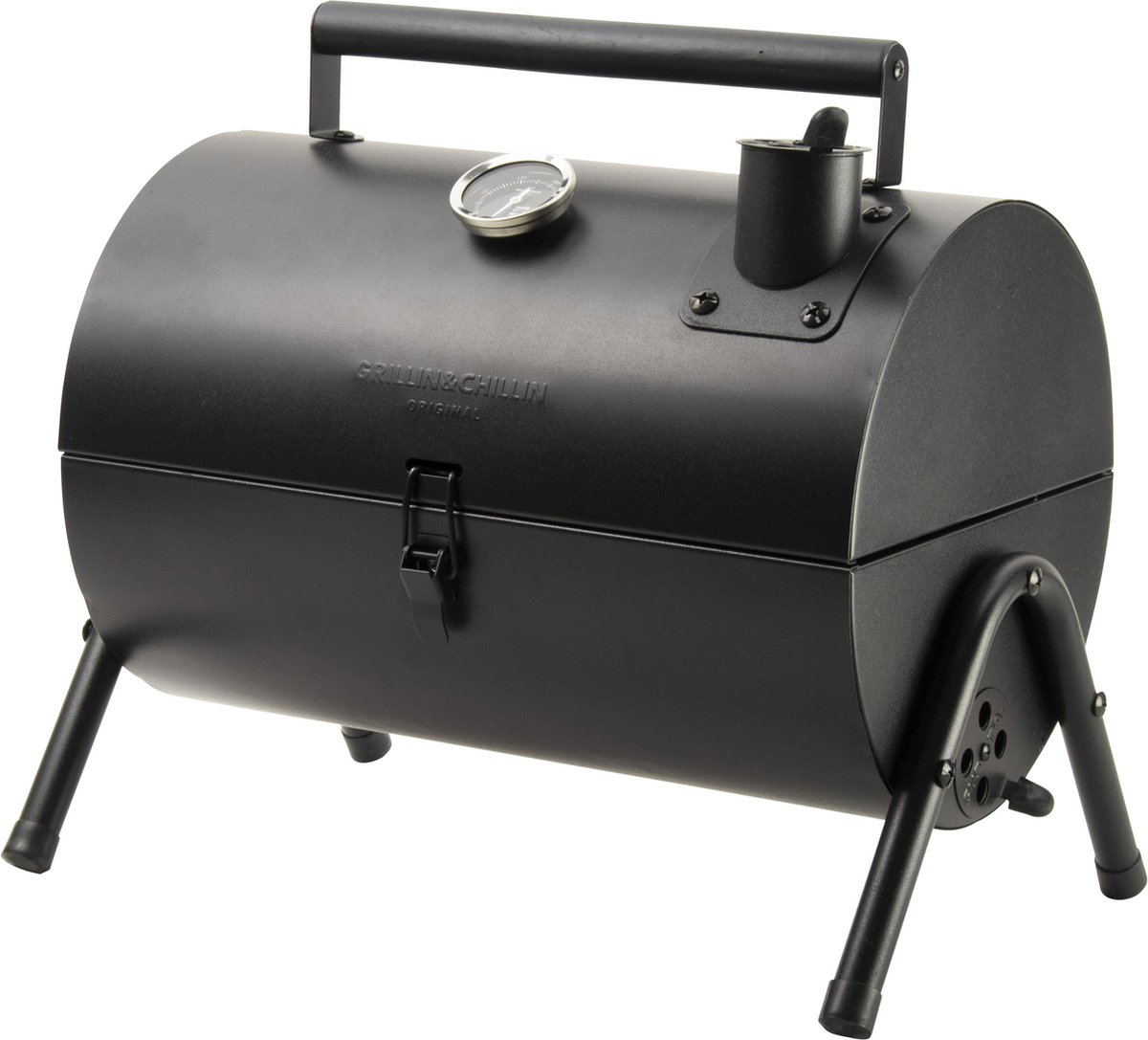 Gusta Barbecue Grill en Smoker - Grilloppervlak (LxB) 22 x 18 cm - Met Thermometer - Zwart
